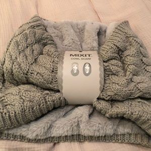 MixIT Grey Cowl Scarf with Faux Fur Lining